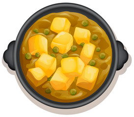 A Yellow Curry on Hot Pan