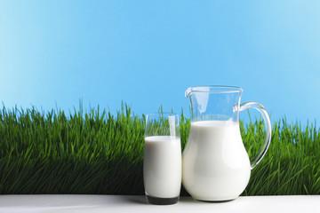 Milk jug and glass on grass field