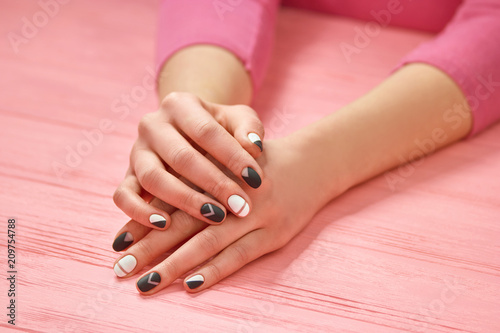 Girls Hands With Creative Nails Design Young Woman Hands With