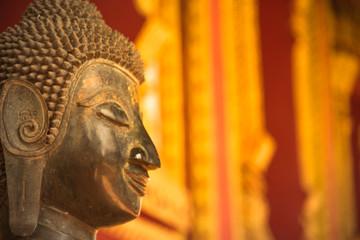 face of buddha statue at hor phra kaew vientiane laos capital