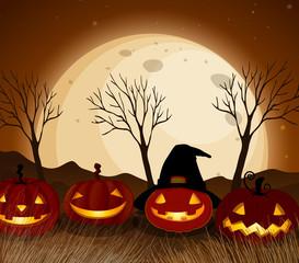 Halloween Pumpkin at Full Moon Night
