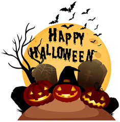 Happy Halloween on White Background