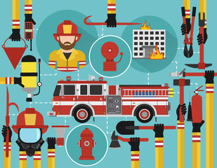 Fire Fighting infographic flat design with firefighter and fire engine.Vector illustration