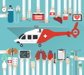 Human organ transplatation  flat design with helicopter.Vector illustration