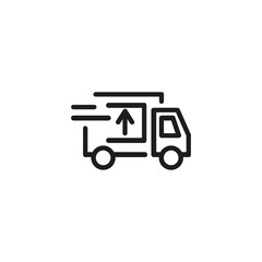 Delivery truck line icon. Automobile, service, courier. Shipping concept. Vector illustration can be used for topics like delivery, transportation, relocation