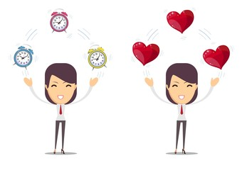 Alarm clock and a red heart at the woman in hands isolated on background in flat style. Vector illustration