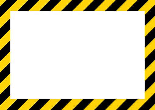 Yellow and black stripes on the diagonal, rectangular warning sign, symbol, illustration
