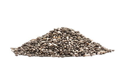 Pile of healthy chia seeds seen from low angle isolated on white background