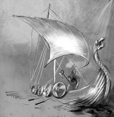 Viking Age. Drekar ship and Warrior with the Axe standing on boat with dragon head.