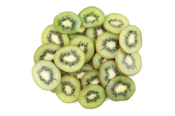 Sliced kiwi fruits isolated on white background