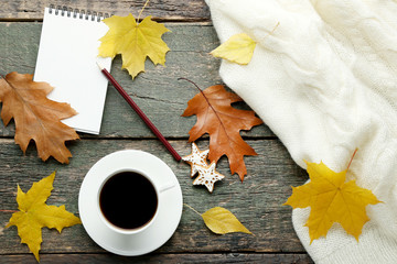 Cup of coffee, knitted scarf and notebook with pencil on wooden table