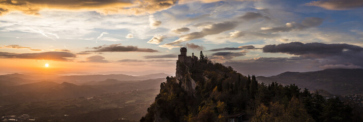 San Marino Tower in the morning light Wall mural