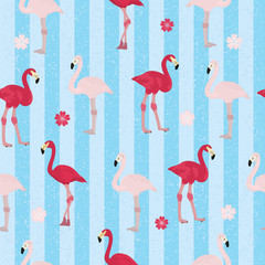 Seamless vectorial image with pink flamingos on blue striped background