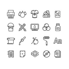 Printing Signs Black Thin Line Icon Set. Vector