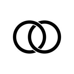 Interlocking circles, rings contour. Circles, rings concept icon, Vector illustration