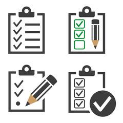 Checklist icons set on white background.