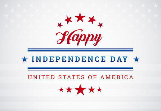 Happy Independence Day USA blue background with the United States flag vector