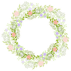 Wreath of wild flowers with leaves. A floral round frame with a place for your text. Suitable for greeting cards, wedding invitations, promotional leaflets.