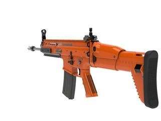 Metallic orange modern assault rifle - back view - 3D Illustration