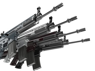 Modern army assault rifles stacked together - 3D Illustration