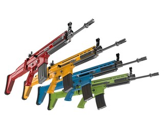 Modern assault rifles - red, green, blue and yellow - 3D Illustration