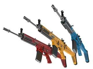 Modern assault rifles in primary colors - 3D Illustration