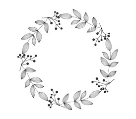 Hand drawn wreath, contour lines leaves. Floral frame for wedding, invitation and holiday. Decorative elements for design, isolated on white background. Vector illustration.