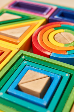 Wood Montessori geometrical color shapes