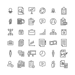 Simple collection of business related line icons.