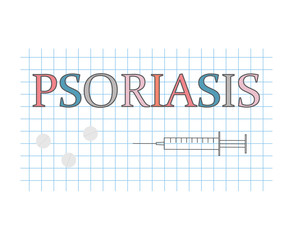 psoriasis word on checkered paper sheet- vector illustration