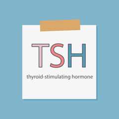 TSH thyroid-stimulating hormone written in a notebook paper- vector illustration