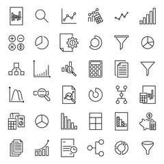 Simple collection of analytic related line icons.