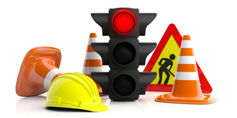 Road constuction signs isolated on white background. 3d illustration