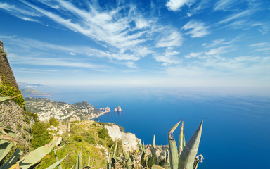 Aerial view of Faraglioni rocks from Monte Solaro at Capri, Italy