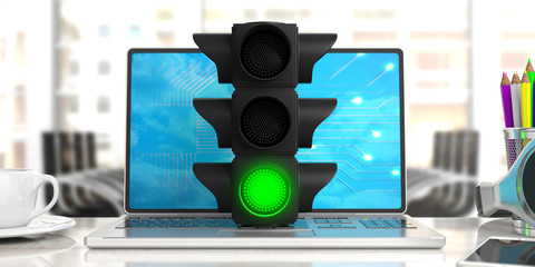 Green light. Traffic light, green go signal, on a computer, office background. 3d illustration