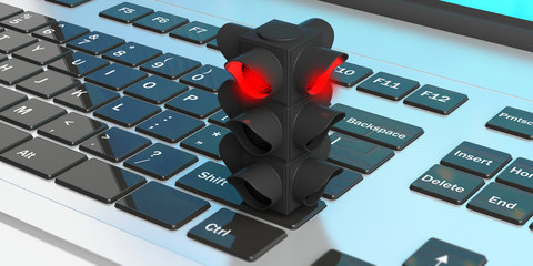 Red light. Traffic light, red stop signal, on a computer keyboard. 3d illustration