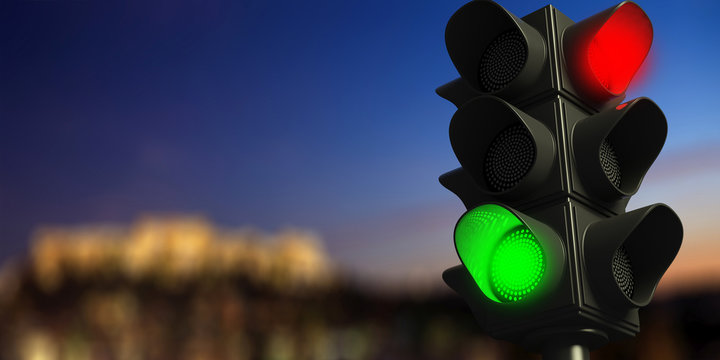 Traffic lights on blur sky background, copy space. 3d illustration