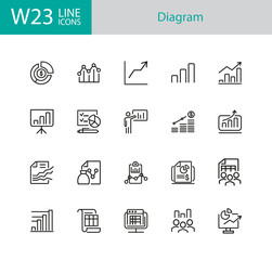 Diagram icons. Set of twenty line icons. Financial growth, presentation, report. Business concept. Vector illustration can be used for topics like analysis, finance, accounting.