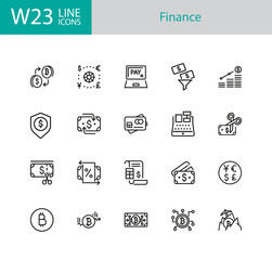 Finance icons. Set of twenty line icons. Bitcoin, currency, payment. Finance concept. Vector illustration can be used for topics like banking, money, saving