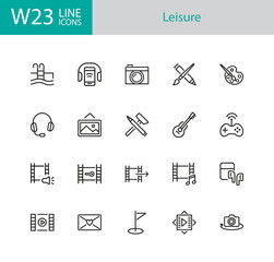 Leisure icons. Set of twenty line icons. Swimming pool, camera, paints. Entertainment concept. Vector illustration can be used for topics like hobby, activity, easy time.