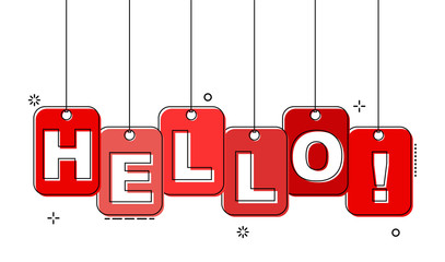 red flat line tag hello