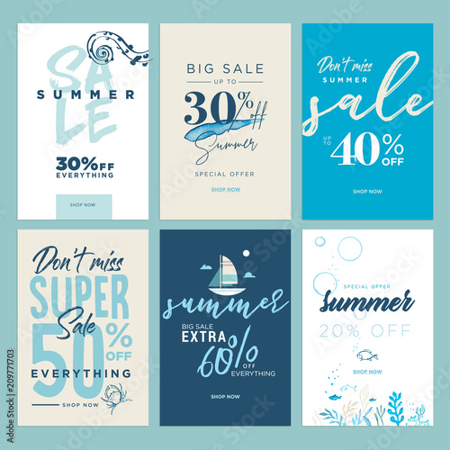 a1bfc816a Summer sale banners. Vector illustrations of online shopping ads, posters,  newsletter designs, coupons, mobile and social media banner templates, ...