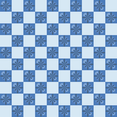 Ceramic blue tiles with glossy shine blue small flowers in checkered pattern vector seamless pattern.