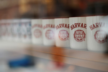Mugs bearing the school's logo are displayed for sale outside Harvard University in Cambridge