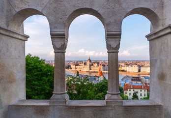 View from the Fisherman's Bastion on Budapest, Hungary