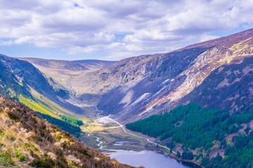 Wall Mural - Aerial view of the upper lake in Glendalough, Ireland