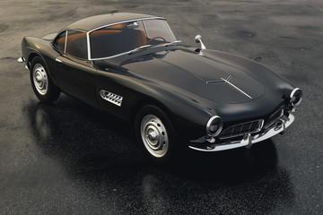 3d vintage beautiful black sport car