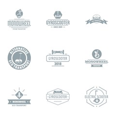 Motor scooter logo set. Simple set of 9 motor scooter vector logo for web isolated on white background