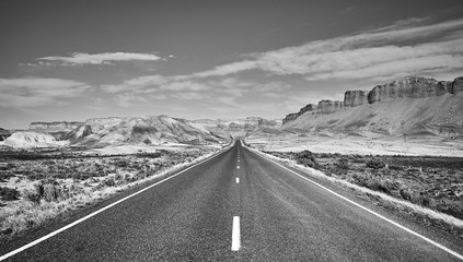 Black and white picture of a scenic road, Capitol Reef National Park, Utah, USA.