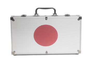 Business travel suitcase with Japan flag